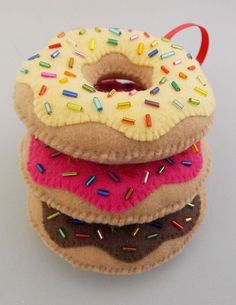 Donut Christmas Ornaments by DanielleLondon - Vanilla, Strawberry, and Chocolate Donuts with Sprinkles - Set of 3