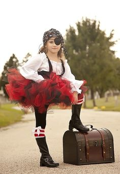 Pirate Costume tutu black and red halloween by Zacharydickorydock