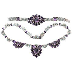 Bernard Instone Amethyst Enamel Turquoise Silver Demi Parure | From a unique collection of vintage more necklaces at https://www.1stdibs.com/jewelry/necklaces/more-necklaces/