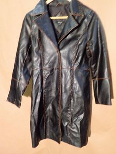 Womens Long Jacket Coat Trench Black Vegan Faux Leather INSIDE Medium Rustic M #Inside #Trench