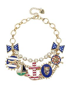 Betsy Johnson - Anchor Multi Charm Frontal Necklace