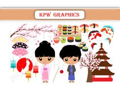 Japan Dolls of the World Clipart PNG Personal & by KPWgraphics