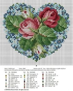 Roses in my Heart (free cross stitch chart). Presumably you could use this for beadwork? Free Cross Stitch Charts, Cross Stitch Heart, Cross Stitch Flowers, Ribbon Embroidery, Cross Stitch Embroidery, Cross Stitch Designs, Cross Stitch Patterns, Beading Patterns, Embroidery Patterns