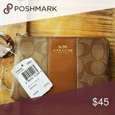 Coach wristlet NWT Coach brown logo wristlet  Single sided... 4 inches by 6 inches Coach Bags Travel Bags