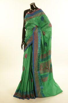 silk dark mint cream sea green saree with blouse