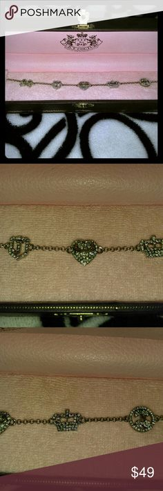 Juicy Couture Pave Icon by the Yard Bracelet Brand New! Signature Juicy Couture Pave Icon bracelet with bow, J banner, pave heart, crown, and cherries. Silver bracelet with clear crystals. The heart banner has Juicy Couture on a gold banner. Rare! Juicy Couture Jewelry Bracelets