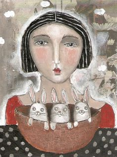 Basket of Bunnies mixed media collage painting by kittyjujube,