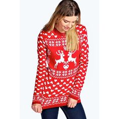 Boohoo Addison Reindeer Love Christmas Jumper ($26) ❤ liked on Polyvore featuring tops, sweaters, red, flat top, wrap sweater, red turtleneck sweater, red christmas sweater and chunky sweater
