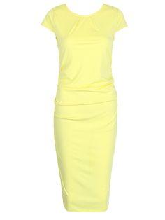 Yellow Short Sleeve Back Split Ruched Bodycon Midi Dress