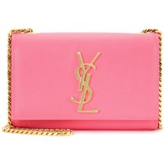 Saint Laurent Classic Monogram Leather Shoulder Bag (10 820 SEK) ❤ liked on Polyvore featuring bags, handbags, shoulder bags, pink, pink shoulder handbags, leather handbags, monogram handbags, pink leather handbag and monogrammed purses