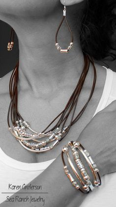 "This is the gorgeous ""Bead Me Up"" handmade to order leather & silver jewelry set by SeaRanchJewelry. Available in 4 leather colors. Purchase earrings, necklace, bracelet or the whole set! Stunning casual sophistication! - pinned by pin4etsy.com"