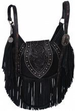 fc7657a6ed62 By Style - Hobo Bags - Double J Saddlery - Black Crackle Fringe Hobo Purse -