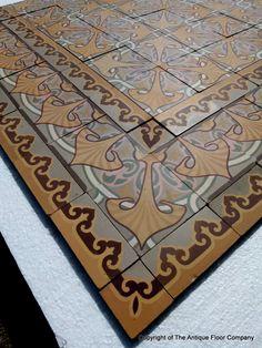 Rare 18m2 Art Nouveau floor complete with triple border tiles - The Antique Floor Company