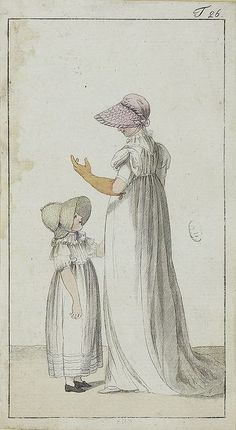 A lady and little girl. Lovely bonnets. Journal des Luxus und der Moden, 1802/3?