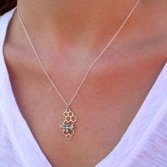 Silver Honeycomb Necklace with Bee Charm  by tangerinejewelryshop