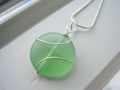 Light Green Necklace  Pendant Necklace  by Sparkleandswirl on Etsy