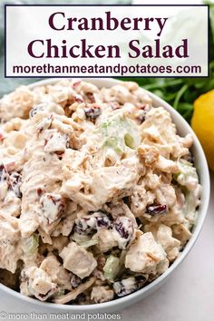 A 10-minute cranberry chicken salad made with rotisserie chicken, celery, cranberries, toasted walnuts, and creamy Dijon dressing! #morethanmeatandpotatoes