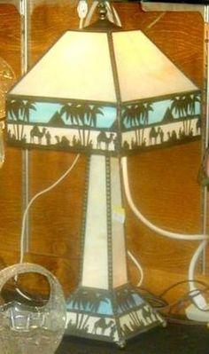 Table Lamp; Slag Glass, 4 Panel, Blue/White, Egyptian Motif, 24 inch.