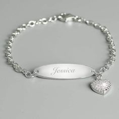 e6aad9e0b This Personalised Children's Sterling Silver and Cubic Zirconia Bracelet is  a gorgeous gift that the recipient