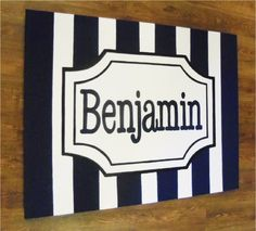 personalized custom canvas to match your child's decor- striped nursery art- boy-navy blue initial or name