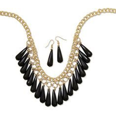 Black Bead Drop Fashion Necklace and Earring Set