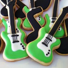 Electric Guitar Music Note Cookies (Six Favor Bags) via Etsy. Cut Out Cookies, Iced Cookies, Cupcake Cookies, Sugar Cookies, Sugar Cookie Royal Icing, Cookie Icing, Macarons, Music Cookies, Cupcakes Flores