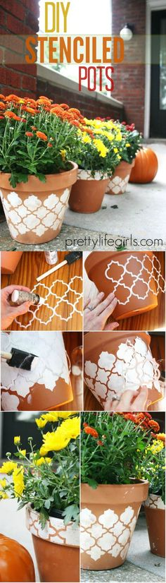 Learn how to stencil these pretty distressed pots for fall - they look perfect on your porch, planted with colorful mums.