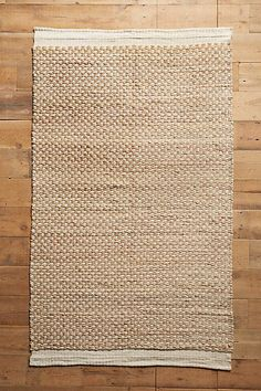 """Raw-Edged Flatweave Rug - anthropologie.com, """"natural"""", hand-woven jute, cotton, and wool, 8'x10', $598"""