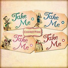 Alice Vintage Tags TAKE ME Alice in Wonderland by CherryPinkPrints, $4.00 - For Flip Flop labeling??