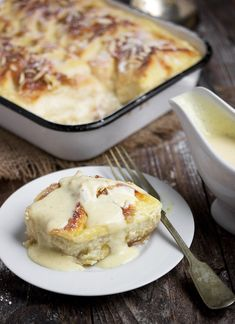 Rhubarb Bread Pudding with Creme Anglaise - Seasons and Suppers - Bread Recipes Pudding Recipes, Sauce Recipes, Baking Recipes, Dessert Recipes, Trifle Desserts, Chef Recipes, Kitchen Recipes, Rhubarb Desserts, Rhubarb Recipes