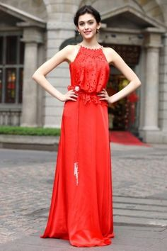 A-line Round-Neck Chiffon Evening Dress