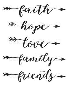 Inspirational STENCIL faith hope love family by OaklandStencil hope love tattoos faith hope love family friends STENCIL One word with arrow for Painting Signs Canvas Fabric Wood Airbrush Crafts Walls Lettering Styles, Brush Lettering, Stencil Lettering, Stencil Walls, Stencil Wood, Stenciling, Arrow Words, Tattoo Fe, Tattoo Fonts