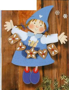 little girl with gingerbread - Christmas paper craft pattern Christmas Paper Crafts, Christmas Signs, Christmas Art, Christmas Themes, Christmas Decorations, Christmas Ornaments, Holiday Decor, Crafts For Kids, Diy Crafts