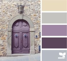 Color Selection: interesting combo adding the   lavender accent to the grey and beige