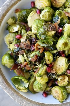 Roasted Brussels Sprouts with Pomegranate and Bacon Recipe | Add a Pinch | Bloglovin'