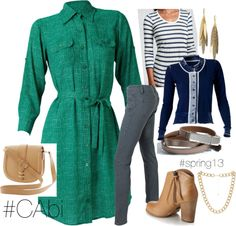 """CAbi Emerald Dress gets layered & winterfied"" by glitterinthegrey ❤ liked on Polyvore  Love CAbi"