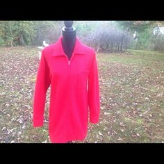 NY Jeans Red Cardigan with a Zipper Size Medium #NewYorkJeans #BasicCoat #Casual