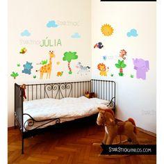 Vinilo infantil decorativo Selva con animales. Vinilos de pared para bebés