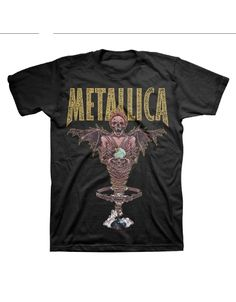 """Metallica King Nothing Mens T-Shirt - This mens Metallica t-shirt in black, features a Pushead artwork of the Scary Guy holding a skull with a crown on its head, labeled """"Careful What You Wish"""", a l"""
