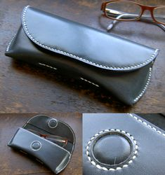 Leather eyeglasses / sunglasses case with magnetic closure