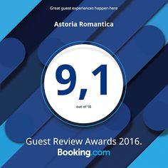 Astoria Romantica: Nagroda od portalu rezerwacyjnego Booking.com Duma nas rozpiera i pragniemy się pochwalić, iż po raz kolejny otrzymaliśmy nagrodę od największego portalu rezerwacyjnego, jakim jest Booking.com: http://astoria-romantica.pl/blog/zostalismy-nagrodzeni/