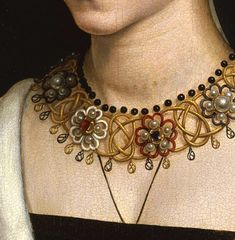 Hans Memling, Maria Portinari, c. 1470 (Detail) - Ok, out of period but I think it could be modified for period wear Renaissance Jewelry, Medieval Jewelry, Renaissance Fashion, Renaissance Art, Jewelry Art, Antique Jewelry, Jewlery, Landsknecht, Renaissance Paintings