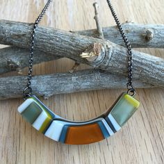 eluCook Designs - JEWELRY - Arc Necklace - Fused glass jewelry by artist Emily L.U. Cook of Mount Pleasant, SC. Visit her website for more information on pricing and purchasing.