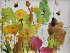 Bumblebees 2 by kate osborne, Watercolour Watercolor Artists, Watercolor Flowers, Watercolour Paintings, Watercolours, Kate Osborne, Garden Painting, Painting Art, Bee Art, Color Pallets