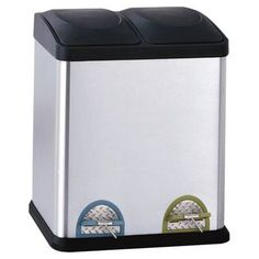 Found it at Wayfair - Recycling Bins Gallon Step-On Stainless Steel Trash Can Trash And Recycling Bin, Trash Bins, Recycling Information, Can Lids, All Stainless Steel, Stainless Kitchen, Garbage Can, Kitchen Fixtures, Canning
