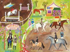 Illustrated horse show poster. Great bright colors!