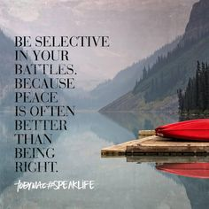 Be selective in your battles. Peace is the better choice most of the time.