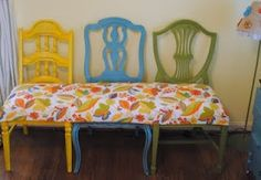 Bench out of  mismatched chairs. diy