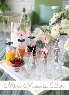 Mini Mimosa Bar. Perfect for a Mother's Day brunch!