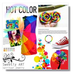 """""""Rainbow Connection"""" by starlight763 ❤ liked on Polyvore featuring Dollhouse, WallPops, Converse, Target and Moschino"""
